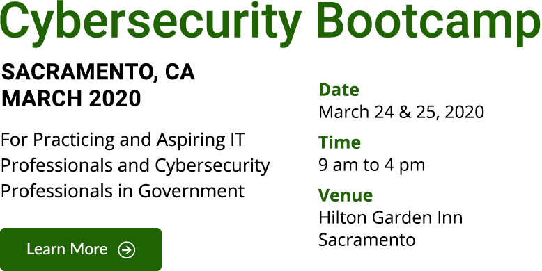 Cybersecurity Bootcamp in Sacramento, CA – March 2020